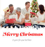 Composite image of family opening christmas gifts at home Stock Image