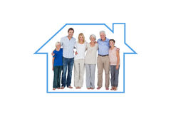 Composite image of family standing against a white background Stock Photos