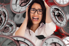 Composite image of female beauty screaming Stock Images
