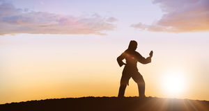 Composite image of female fighter performing karate stance. Female fighter performing karate stance against clouds Royalty Free Stock Photo