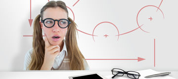 Composite image of female geeky hipster looking confused Stock Image