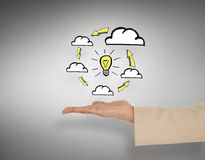 Composite image of female hand presenting cloud computing graphic Stock Photography