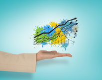 Composite image of female hand presenting graph Royalty Free Stock Photo