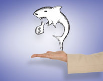 Composite image of female hand presenting loan shark Stock Image