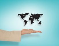 Composite image of female hand presenting map Stock Photos