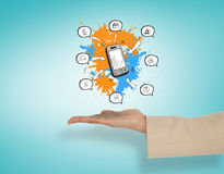 Composite image of female hand presenting smartphone apps Royalty Free Stock Image