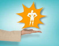 Composite image of female hand presenting superhero Royalty Free Stock Photos
