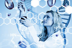 Composite image of female scientist examining blood Royalty Free Stock Images