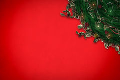 Composite image of festive christmas wreath with decorations Stock Image