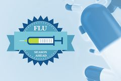 Composite image of fight the flu with pills. With blue background Royalty Free Stock Photo