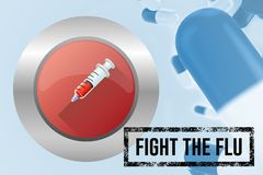 Composite image of fight the flu with pills. With blue background Stock Photos