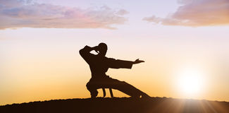Composite image of fighter performing karate stance. Fighter performing karate stance against clouds Royalty Free Stock Photo