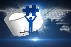 Composite image of figure holding jigsaw piece on abstract screen Stock Image