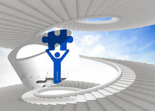 Composite image of figure holding jigsaw piece on abstract screen. Figure holding jigsaw piece on abstract screen against spiral staircase in the sky Royalty Free Stock Images