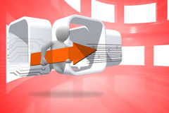 Composite image of figure with orange arrow on abstract screen Stock Image