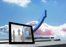 Composite image of figures and earth on tablet screen. Figures and earth on tablet screen against blue curved arrow pointing up against sky Stock Photo