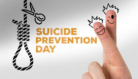 Composite image of finger characters. Finger characters against suicide prevention day message Stock Images