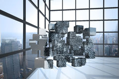 Composite image of fingerprint on abstract screen Royalty Free Stock Photo