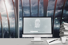 Composite image of fingerprint on computer. Fingerprint on computer against stocks and shares Royalty Free Stock Photos