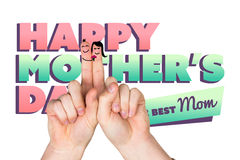 Composite image of fingers as a couple. Fingers as a couple against mothers day greeting Royalty Free Stock Photography