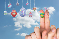 Composite image of fingers as easter bunny Royalty Free Stock Photos