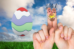 Composite image of fingers as easter bunny Royalty Free Stock Photo