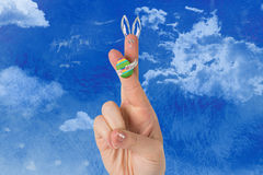 Composite image of fingers as easter bunny Stock Photography