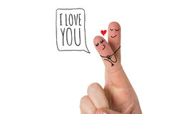 Composite image of fingers crossed like a couple. Fingers crossed like a couple against i love you Stock Photos