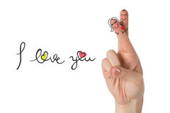 Composite image of fingers crossed like a couple. Fingers crossed like a couple against i love you Stock Image
