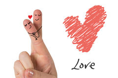 Composite image of fingers crossed like a couple. Fingers crossed like a couple against love heart Stock Photography