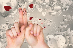 Composite image of fingers crossed like a couple. Fingers crossed like a couple against love heart pattern Stock Images