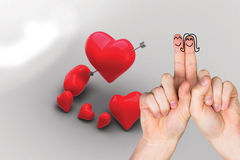 Composite image of fingers crossed like a couple. Fingers crossed like a couple against love hearts Royalty Free Stock Images