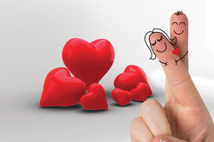 Composite image of fingers crossed like a couple. Fingers crossed like a couple against love hearts Stock Image