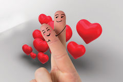 Composite image of fingers crossed like a couple. Fingers crossed like a couple against love hearts Stock Photography