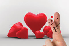 Composite image of fingers crossed like a couple. Fingers crossed like a couple against love hearts Royalty Free Stock Photos