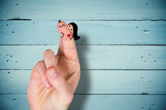 Composite image of fingers crossed like a couple Royalty Free Stock Image