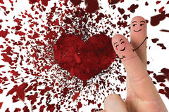 Composite image of fingers crossed like a couple. Fingers crossed like a couple against red love hearts Royalty Free Stock Images