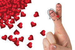 Composite image of fingers crossed like a couple. Fingers crossed like a couple against red love hearts Stock Image