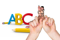 Composite image of fingers posed as students. Fingers posed as students against abc graphic Stock Photo