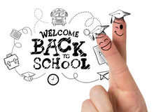 Composite image of fingers posed as students. Fingers posed as students against back to school Stock Photos