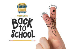Composite image of fingers posed as students. Fingers posed as students against back to school Royalty Free Stock Photo