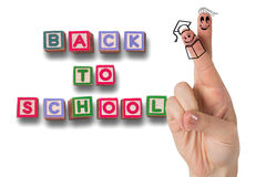 Composite image of fingers posed as students. Fingers posed as students against back to school message Royalty Free Stock Photography