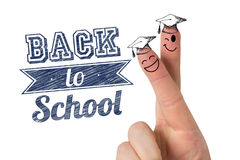 Composite image of fingers posed as students. Fingers posed as students against back to school message Stock Images