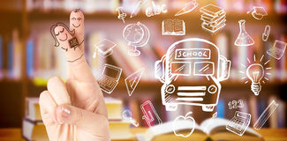 Composite image of fingers posed as students. Fingers posed as students against books on desk in library Royalty Free Stock Photos