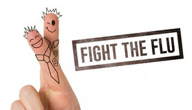 Composite image of fingers posed as students. Fingers posed as students against flu shot message Stock Photography