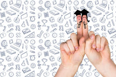 Composite image of fingers posed as students. Fingers posed as students against school wallpaper Royalty Free Stock Photos