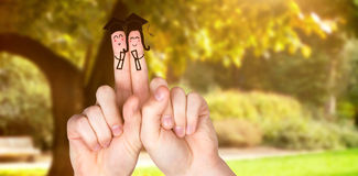 Composite image of fingers posed as students Stock Image