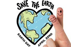 Composite image of fingers smiling. Fingers smiling against earth day graphic Royalty Free Stock Photo