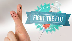 Composite image of fingers smiling. Fingers smiling against flu shot message Stock Photo