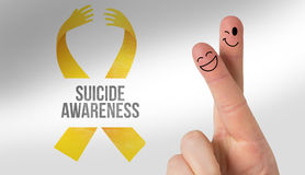 Composite image of fingers smiling. Fingers smiling against suicide awareness message Stock Images